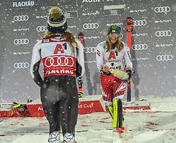 08.01.2019, Hermann Maier Weltcupstrecke, Flachau, AUT, FIS Weltcup Ski Alpin, Slalom, Damen, Siegerehrung, im Bild Mikaela Shiffrin (USA, zweiter Platz) Katharina Liensberger (AUT, dritter Platz) // second place Mikaela Shiffrin of the USA third place Katharina Liensberger of Austria during the winner ceremonie of ladie's Slalom of FIS ski alpine world cup at the Hermann Maier Weltcupstrecke in Flachau, Austria on 2019/01/08. EXPA Pictures © 2019, PhotoCredit: EXPA/ Erich Spiess