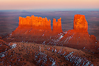 Bear, Rabbit and Castle Rock formations in Monument Valley