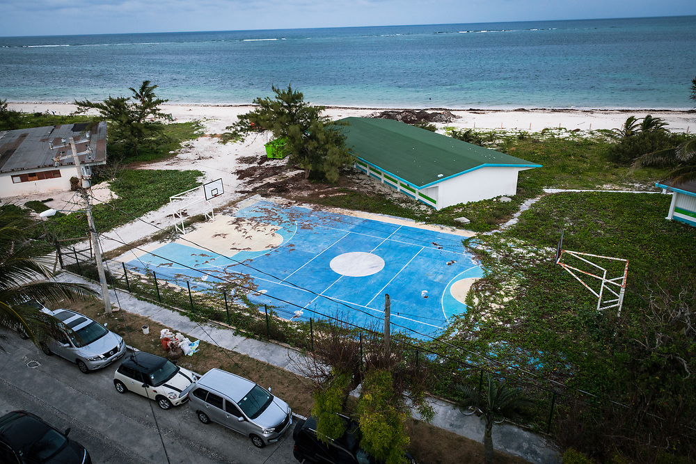 Puerto Morelos, Mexico - May 15, 2021: The competition on a basketball court between brown pine needles and green vines.