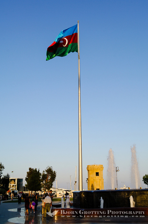 Azerbaijan, Baku. National Flag Square is a large city square by Neftchiler Avenue in Bayil, Baku. The flag flies on a pole 162 meters high and measures 70 by 35 meters which makes it one of the world's tallest flags.