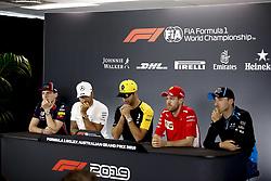 March 14, 2019 - Melbourne, Australia - Motorsports: FIA Formula One World Championship 2019, Grand Prix of Australia, ..#33 Max Verstappen (NLD, Aston Martin Red Bull Racing), #44 Lewis Hamilton (GBR, Mercedes AMG Petronas Motorsport), #3 Daniel Ricciardo (AUS, Renault F1 Team), #5 Sebastian Vettel (GER, Scuderia Ferrari Mission Winnow), #88 Robert Kubica (POL, ROKiT Williams Racing) (Credit Image: © Hoch Zwei via ZUMA Wire)
