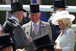Prince Charles, Prince of Wales, (centre) and Camilla, Duchess of Cornwall (right), during day one of Royal Ascot at Ascot Racecourse.