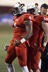 11 December 2015:  David Perkins(4) celebrates. NCAA FCS Quarter Final Football Playoff game between Richmond Spiders and Illinois State Redbirds at Hancock Stadium in Normal IL (Photo by Alan Look)