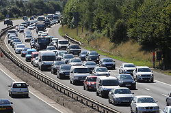 © Licensed to London News Pictures. 28/08/2015<br /> M25 traffic at Junction 3 for Swanley.<br /> August Bank holiday traffic hell on the M25  THIS AFTERNOON (28.08.2015) The M25 anti-clock wise towards the Dartford Crossing in Kent looks more like a car park as the busy bank holiday getaway continues. Traffic is back to Junction 4 for Orpington.<br /> (Byline:Grant Falvey/LNP)