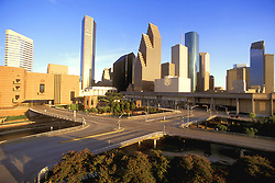 Stock photo of the downtown Houston skyline seen from the northwestern