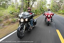 AJ Smith (L) and Sam Dando of Indian Motorcycles ride new 2017 Indian Chieftains during Daytona Beach Bike Week. FL. USA. Monday March 13, 2017. Photography ©2017 Michael Lichter.