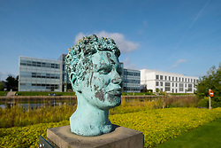 Bust of Scottish poet and novelist Jackie Kay at Edinburgh Park a modern business park at South Gyle in Edinburgh, Scotland, United Kingdom.