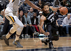 October 31, 2018 - Minneapolis, MN, USA - The Minnesota Timberwolves' Derrick Rose drives the lane in the third quarter against the Utah Jazz at the Target Center in Minneapolis on Wednesday, Oct. 31, 2018. The Timberwolves won, 128-125, behind a career-high 50 points from Rose. (Credit Image: © Carlos Gonzalez/Minneapolis Star Tribune/TNS via ZUMA Wire)