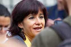© Licensed to London News Pictures. 12/09/2015. London, UK. Newly elected Labour Party leader Jeremy Corbyn's wife Laura Alvarez attending a pro-refugee march in central London following his victory on September 12, 2015. Photo credit: Tolga Akmen/LNP