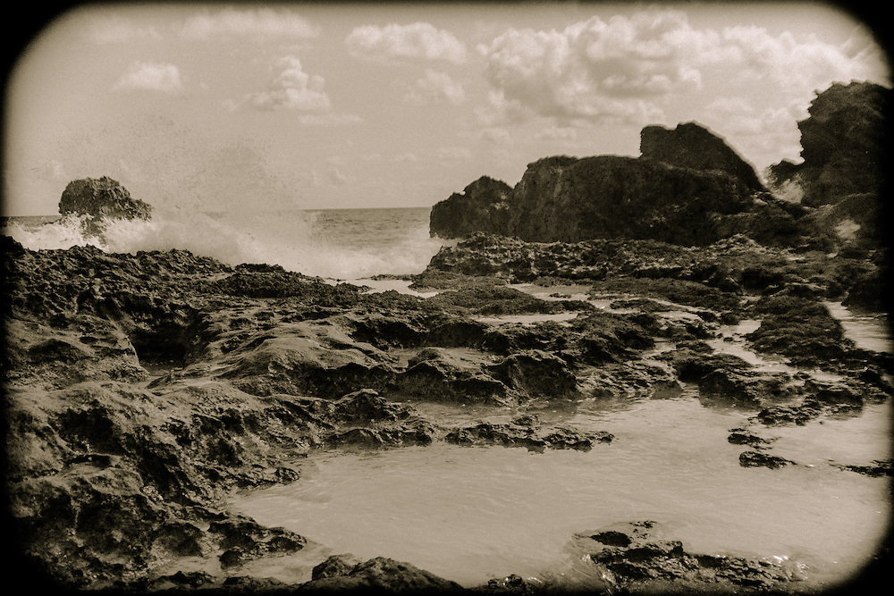 Waves crashing on the rocks at Jobson's Cove in Bermuda (1984)