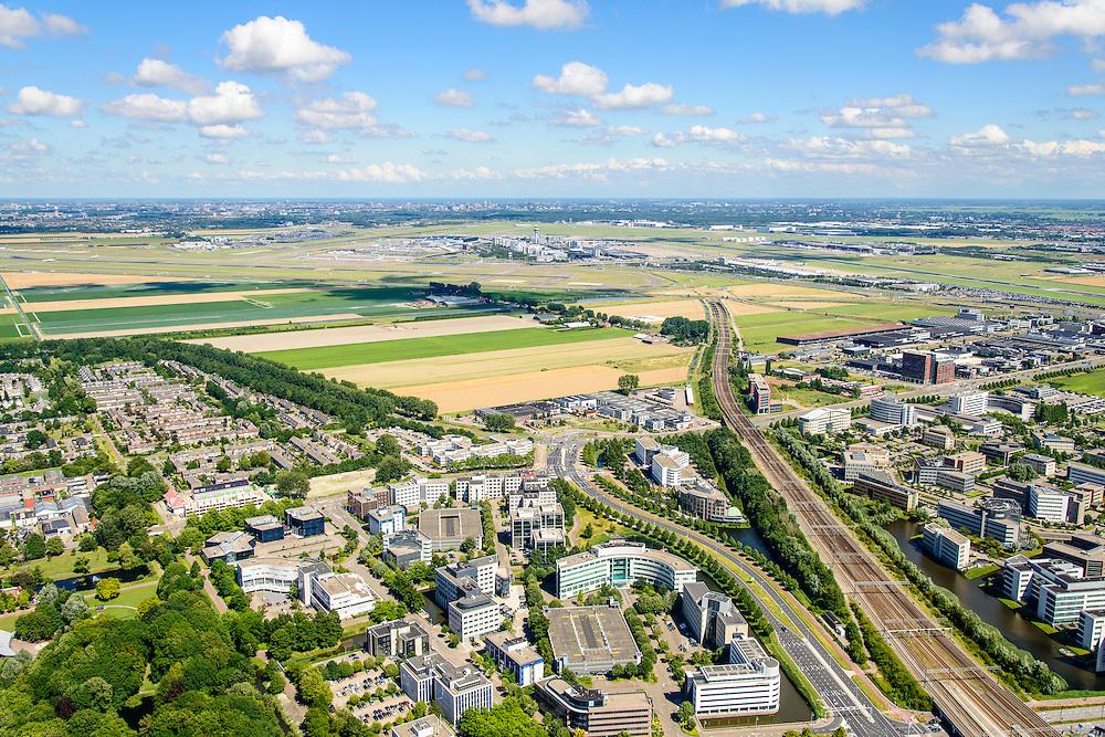 Nederland, Noord-Holland, Hoofddorp, 01-08-2016; Hoofddorp centrum, omgeving NS station en kantorenpark Beukenhorst. Schiphol airport aan de horizon.<br /> Hoofddorp, railway station and environment.<br /> luchtfoto (toeslag op standard tarieven);<br /> aerial photo (additional fee required);<br /> copyright foto/photo Siebe Swart