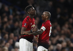 BRITAIN-LONDON-FOOTBALL-FA CUP-CHELSEA VS MAN UNITED.(190218) -- LONDON, Feb. 18, 2019  Manchester United's Paul Pogba (L) celebrates with his teammate Ashley Young during the FA Cup fifth round match between Chelsea and Manchester United in London, Britain on Feb. 18, 2019. Manchester United won 2-0. FOR EDITORIAL USE ONLY. NOT FOR SALE FOR MARKETING OR ADVERTISING CAMPAIGNS. NO USE WITH UNAUTHORIZED AUDIO, VIDEO, DATA, FIXTURE LISTS, CLUB/LEAGUE LOGOS OR ''LIVE'' SERVICES. ONLINE IN-MATCH USE LIMITED TO 45 IMAGES, NO VIDEO EMULATION. NO USE IN BETTING, GAMES OR SINGLE CLUB/LEAGUE/PLAYER PUBLICATIONS. (Credit Image: © Xinhua via ZUMA Wire)