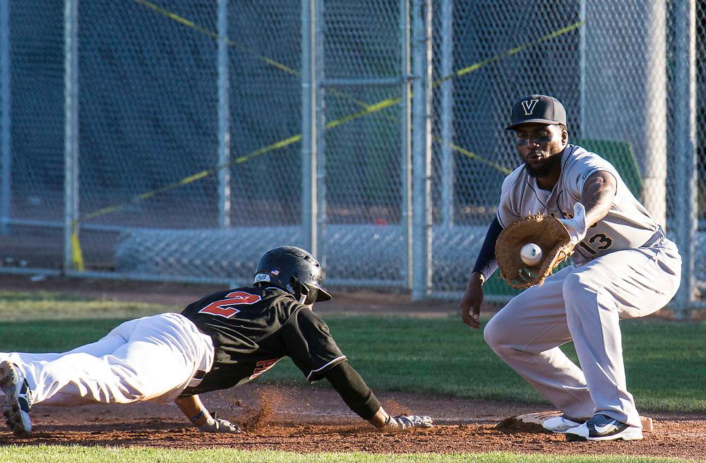 Jun 17, 2017 Vallejo, CA : 1B # 13 Nick Akins during the baseball game between Pittsburg Diamonds vs Vallejo Admirals at Pittsburg Diamond Pittsburg, CA. Thurman James / TJP