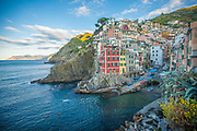 Riomaggiore seascape on the Conque terre, meditarrantean coast of Italy