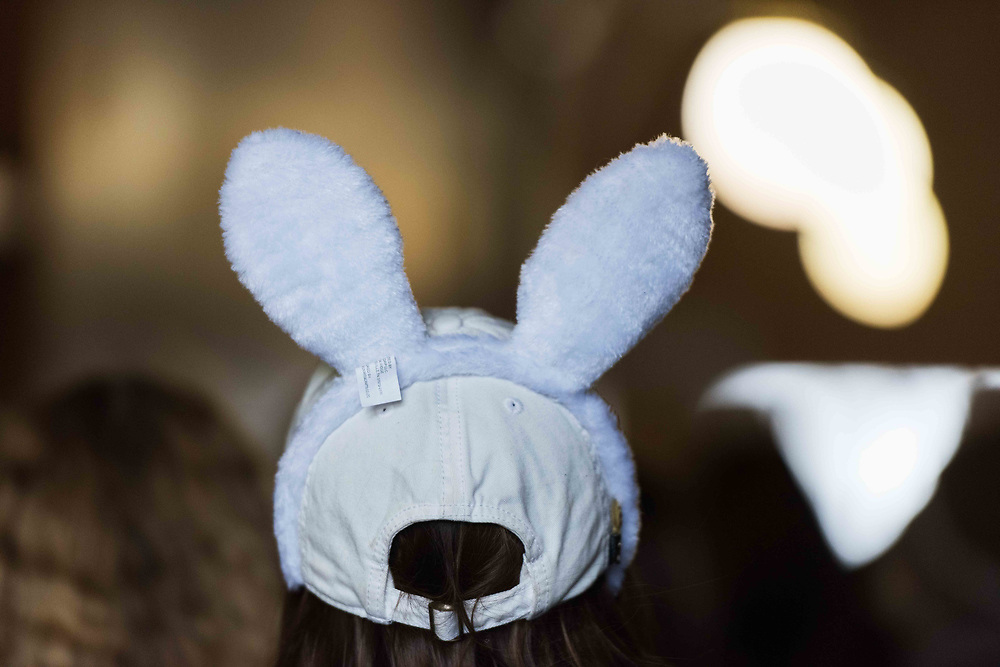 Kristen Kief of Jefferson County wears bunny ears, an emblem of the ongoing teacher strike at the capitol in Charleston, W.V., on Monday, March 05, 2018; the eighth day of statewide school closures.