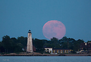 Strawberry Moon over Lighthouse Point New Haven