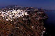 GREECE.The Cyclades: Santorini (Thira) .Fira, the capital, perched on the edge of a volcanic crater said to be the remains of an eruption that dwarfed Krakatoa.Th parting of the Red Sea for Moses is thought to be a reference to the early stages of the tsunami caused by this eruption.