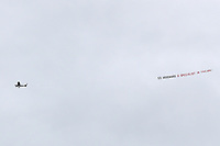 "Football - 2018 / 2019 Premier League - Burnley vs. Manchester United<br /> <br /> A plane towing a banner ""Ed Woodward a specialist in failure"" flies overhead at Turf Moor.<br /> <br /> COLORSPORT/PAUL GREENWOOD"