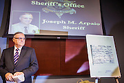 17 JULY 2012 - PHOENIX, AZ: Maricopa County Sheriff JOE ARPAIO at the podium before his announcement that President Obama's birth certificate is not authentic. Arpaio said his investigation proves that the long form birth certificate President Barrack Obama has used to prove his citizenship is a fraud. He also said that Hawaii's lax standards for getting a birth certificate may pose a serious flaw to the United States' national security. PHOTO BY JACK KURTZ