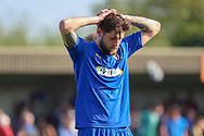 AFC Wimbledon midfielder Anthony Wordsworth (40) with hands on head during the EFL Sky Bet League 1 match between AFC Wimbledon and Bristol Rovers at the Cherry Red Records Stadium, Kingston, England on 19 April 2019.