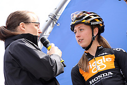 ©Licensed to London News Pictures. 07/05/2014<br /> Oundle, Northamptonshire. Olympic gold medalist Laura Trott interviewed before the 1st stage of the 1st Friends Womens Tour of Britain<br /> Photo credit: Steven Prouse/ LNP