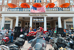 Annual bike auction before the Legends Ride in Deadwood, SD during the Sturgis Black Hills Motorcycle Rally. SD, USA. August 4, 2014.  Photography ©2014 Michael Lichter.