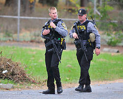 Police search the former Penn Hills Resort for evidence related to Eric Frein on Oct. 10, 2014, near Analomink, PA. Frein is accused of shooting two Pennsylvania State Troopers fatally wounding one 28 days ago. (Chris Post | lehighvalleylive.com)