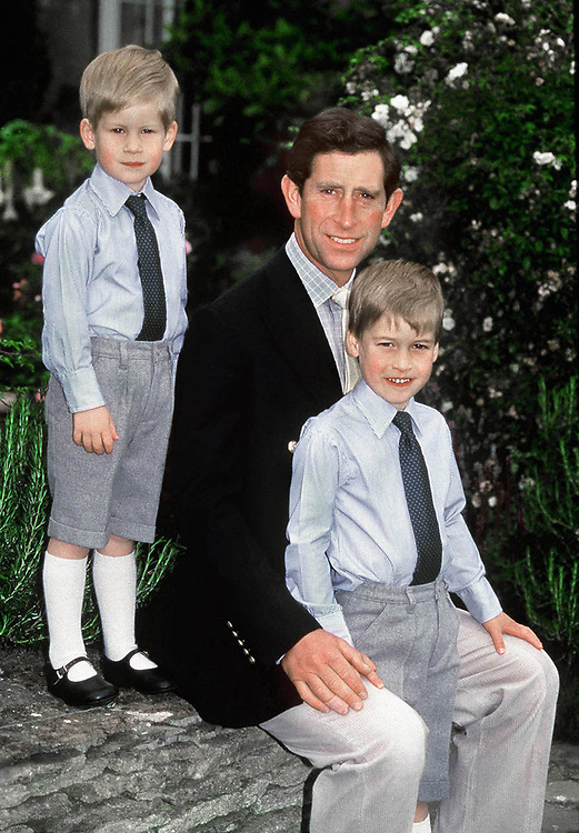Prince Charles,Prince of Wales seen with sons Prince William and Prince Harry in the garden of their home Highgrove House,Gloucestershire,UK. They pose for an official photograph the mark the Prince of Wales 40th birthday. August 1988.Photographed by Jayne Fincher