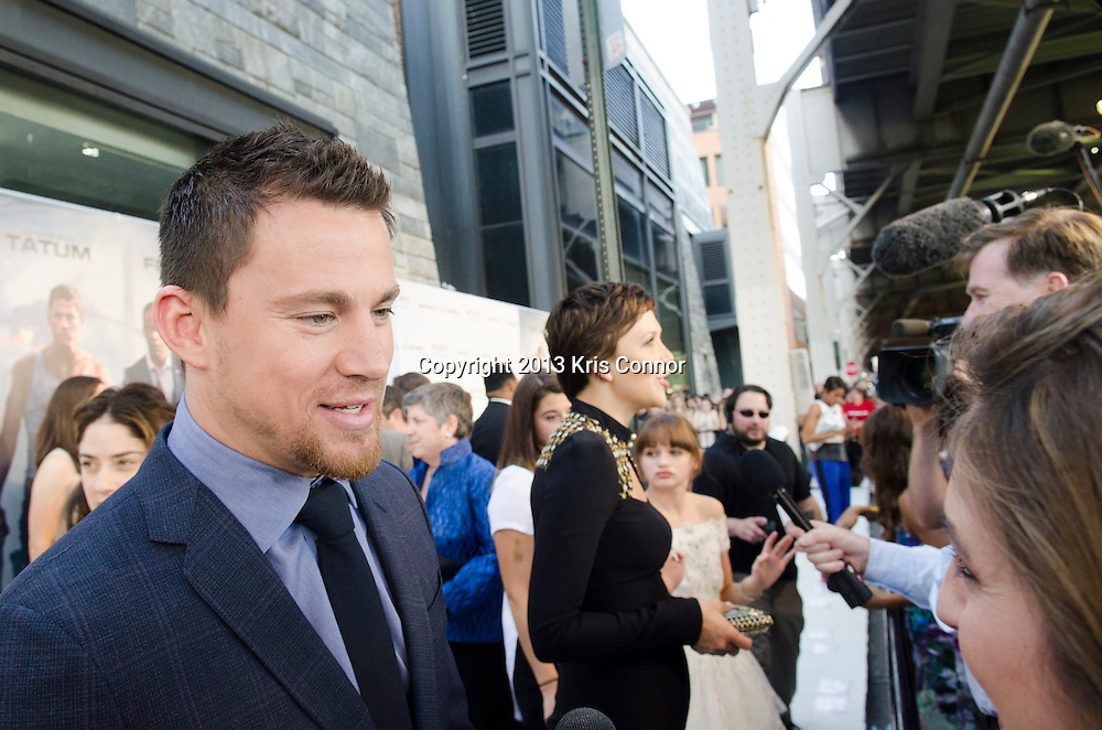 WASHINGTON DC JUNE 21:  Channing Tatum and Maggie Gyllenhaal speak with the press  on the red carpet during the DC premiere of White House Down at AMC Georgetown in Washington DC on June 21, 2013.<br /> Photo by Kris Connor/Sony Pictures