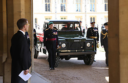 The purpose built Land Rover Defender hearse at the funeral of the Duke of Edinburgh at Windsor Castle, Berkshire. Picture date: Saturday April 17, 2021.
