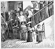 Shakers: United Society of Believers in Christ's  Second Appearance. Members of the community going to dinner, each carrying their own typical, simple Shaker chair. Mount Lebanon Community, Lebanon Springs, New York State. From 'The Graphic', London, 1870. Wood engraving.