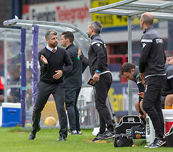 Motherwell's manager Stephen Robinson at the end. Dundee 1 v 3 Motherwell, SPFL Ladbrokes Premiership game played 1/9/2018 at Dundee's Kilmac stadium Dens Park