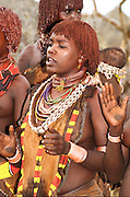 Africa, Ethiopia, Omo River Valley Hamer Tribe. A tribal dance