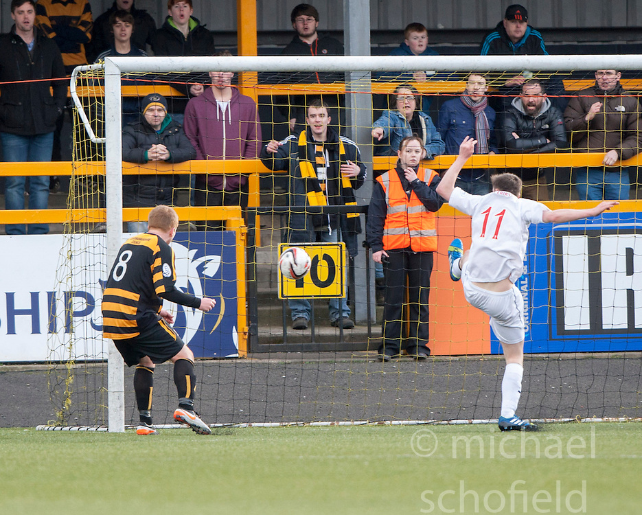 Alloa Athletic's Ryan McCord scoring their third goal.<br /> Alloa Athletic 3 v 0 Falkirk, Scottish Championship game played today at Alloa Athletic's home ground, Recreation Park.<br /> © Michael Schofield.