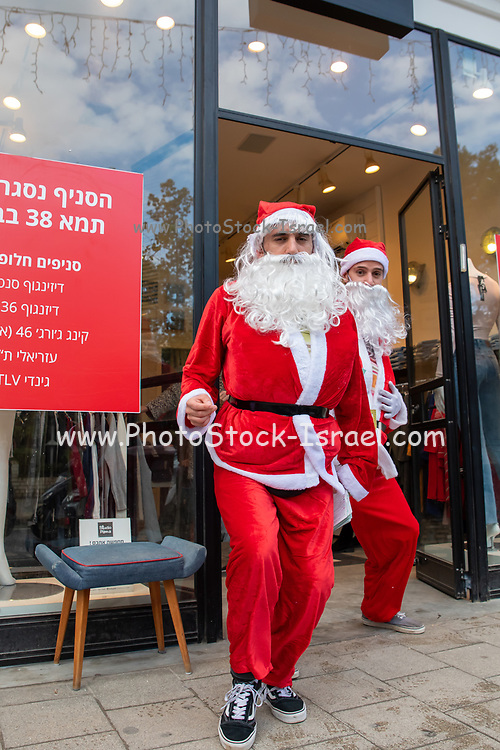 Father Christmas in a store in Tel Aviv, Israel