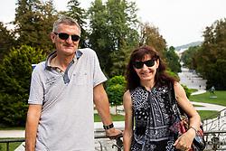 Helena Javornik (R) and her husband Borut Podgornik during Opening ceremony of photo exhibition at 100 years Anniversary of Slovenian Athletic Federation, on September 17, 2020 in Tivoli park, Jakopicevo sprehajalisce, Ljubljana, Slovenia. Photo by Vid Ponikvar / Sportida