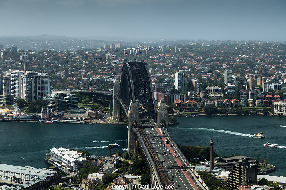 Open Sydney presented by Sydney Living Museuems. This event every year allows Sydneysiders to visit 40 of the city's most significant buildings and spaces across the CBD. View of Sydney Harbour Bridge from One International Towers, Sydney.