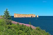 Le Rocher Percé or Percé Rock in the Atlantic Ocean<br />Percé<br />Quebec<br />Canada