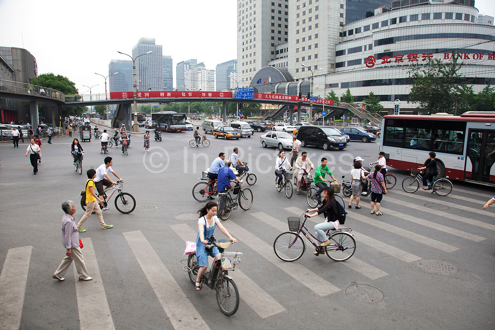 Busy ring road intersection at Fuchengmen in Xicheng district, Beijing, China. This is one of the main arterial routes around the city. Beijing is one of the very few cities to possess multiple ring roads, also known as beltways making up what is a massive transport infrastructure.