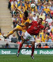 Photo: Steve Bond/Richard Lane Photography. <br />Ebbsfleet United v Torquay United. The FA Carlsberg Trophy Final. 10/05/2008. Chris Hargreaves (L) and Chris McFee (R) in the air