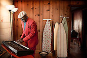 Blues musician Ironing Board Sam plays his keyboard inside of his Chapel Hill, NC home