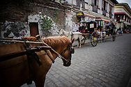 Kalesas on the streets of Vigan.<br /> Ilocos Sur and Ilocos Norte are the Filipino provinces situated on Luzon Island and famous for heritage town of Vigan, windmills of Bangui, white sand beach of Pagudpud not to mention former president Marcos, who was born there.