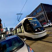 CAF Urbos streetcars along the Kansas City, Missouri Main Street line.