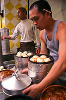 Pork Buns at Chengdu Market - Cha siu baau are barbecue pork buns.  The buns are filled with barbecue flavoured cha siu pork. They are served as a type of dim sum during yum cha and are often sold in Chinese bakeries.