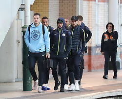 7.12.18……… The Manchester City team get the train to London on Friday for their Premier League match against Chelsea………. Ederson, Gabriel Jesus, Danilo and Nikoilas Otamendi.