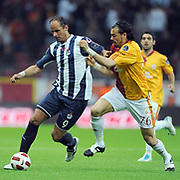 Galatasaray's Servet CETIN (R) and Kasimpasaspor's Ersen MARTIN (L) during their Turkish Super League soccer match Galatasaray between Kasimpasaspor at the TT Arena at Seyrantepe in Istanbul Turkey on Monday 09 May 2011. Photo by TURKPIX