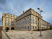 Beautifully restored Georgian facade of the Royal William Yard and the square in front.<br /> Plymouth, Devon, UK