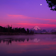 Mt. Moran and Oxbow Bend in pre-dawen light, Grand Teton National Park, WY.