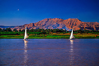 Feluccas on the Nile River, Luxor, Egypt