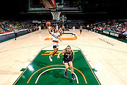 January 8, 2017: Keyona Hayes #20 of Miami shoots past Marina Mabrey #3 of Notre Dame during the NCAA basketball game between the Miami Hurricanes and the Notre Dame Fighting Irish in Coral Gables, Florida. The 'Irish defeated the 'Canes 67-55.